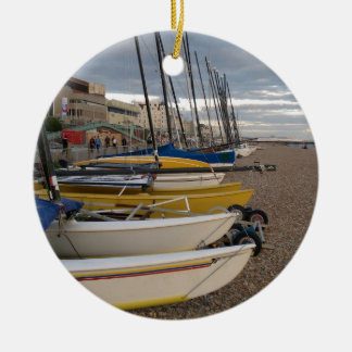 Catamarans On The Beach Ceramic Ornament