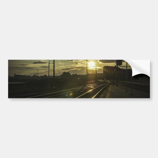 Catania railways at sunset bumper sticker