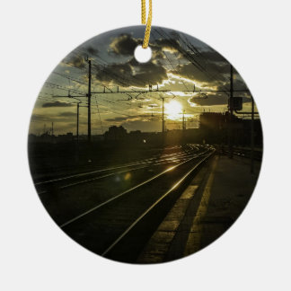 Catania railways at sunset ceramic ornament