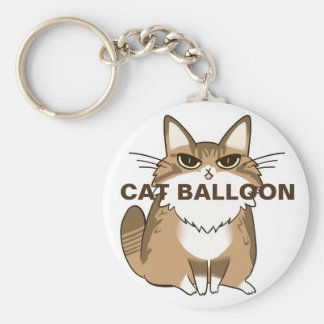 CATBALLOON can batch A Basic Round Button Key Ring
