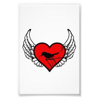 Catbird Winged Heart Love Birds Silhouette Photo Print