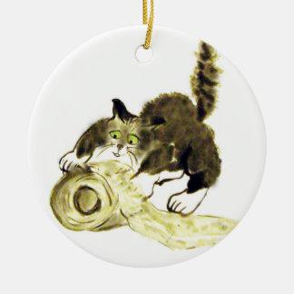 Catbotage - kitten and toilet paper, Sumi-e Ceramic Ornament