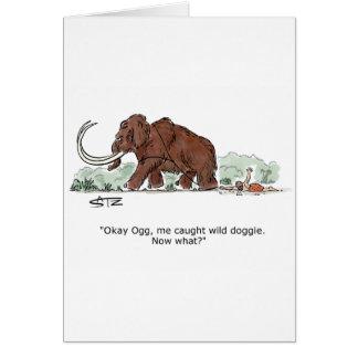 Catch the elephant doggie birthday card