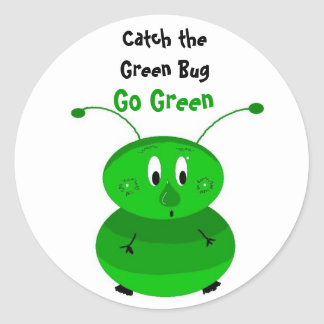 Catch the Green Bug Classic Round Sticker