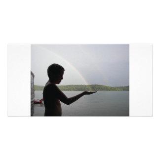 Catching A Rainbow Custom Photo Card
