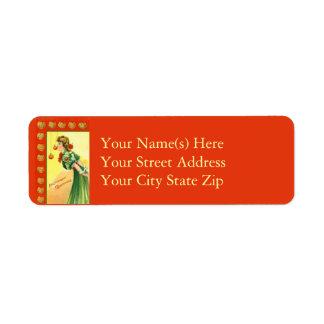 Catching Apples Vintage Halloween Return Address Label