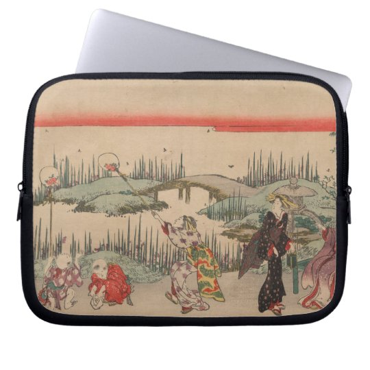 Catching Fireflies (colour woodcut) Laptop Sleeve