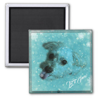 Catching Snowflakes Square Magnet