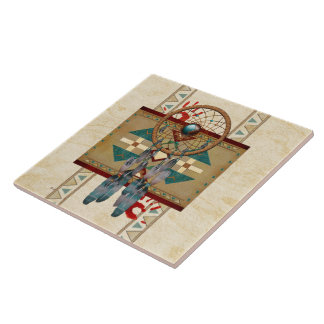 Catching Spirit Native American Large Square Tile
