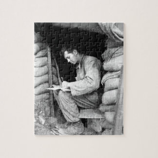 Catching up on his letters _War Image Puzzle