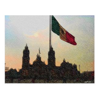 Catedral en el Zocalo del DF con la Bandera 2.jpg Postcard