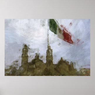 Catedral en el Zocalo del DF con la Bandera 5.jpg Poster