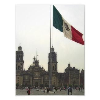 Catedral en el Zocalo del DF con la Bandera Mexica Photo Print