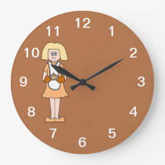 Caterer with Hot Soup. Wall Clock