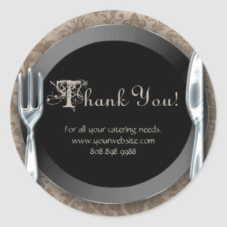 Catering Thank You Stickers Silver Cutlery Beige