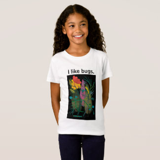 Caterpillar in flower garden on black2 T-Shirt