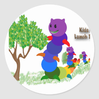 Caterpillar MOM Kids it's-Lunch Time Greeting Card Round Sticker