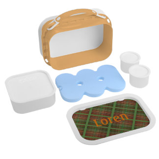 Caterpillar on Brown, Orange and Green Plaid Lunch Boxes