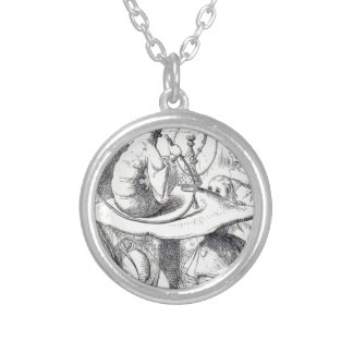 Caterpiller Smokes a Hookah on am ushrooa Silver Plated Necklace