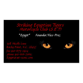 cateyes, Striking Egyptian Tigers, Motorcycle C... Pack Of Standard Business Cards