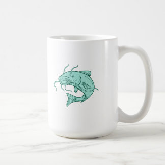 Catfish Mud Cat Jumping Mono Line Coffee Mug