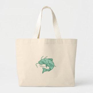 Catfish Mud Cat Jumping Mono Line Large Tote Bag