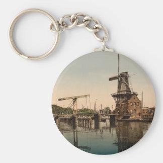 Catharine Bridge and Windmill, Haarlem, Netherland Key Ring