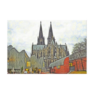 Cathedral and Museum Ludwig in Cologne. Canvas Print