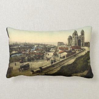 Cathedral and Quay de la Joliette, Marseilles Lumbar Cushion