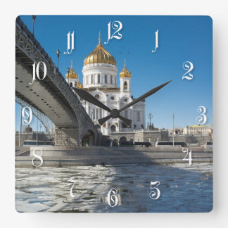 Cathedral Christ the Saviour in Moscow Square Wall Clock