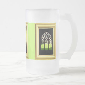 Cathedral cloisters frosted glass beer mug