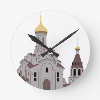Cathedral Illustration Round Clock