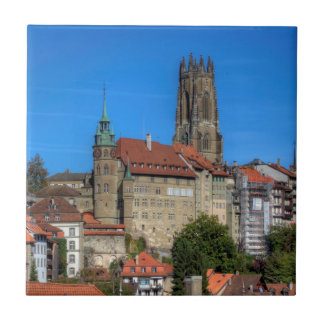 Cathedral of St. Nicholas in Fribourg, Switzerland Small Square Tile