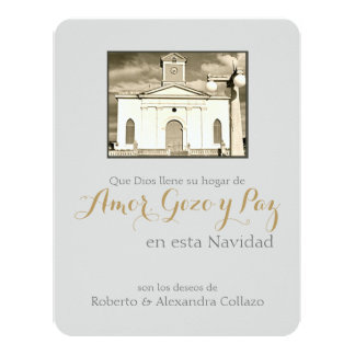 Cathedral, Puerto Rico Spanish Christmas 4.25x5.5 Paper Invitation Card