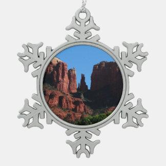 Cathedral Rock in Sedona Arizona Snowflake Pewter Christmas Ornament