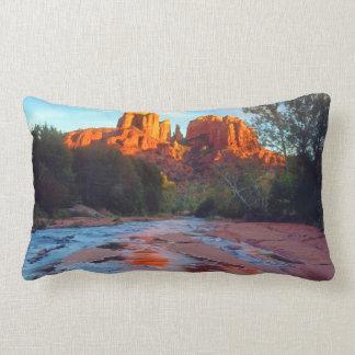 Cathedral Rock reflecting in Oak Creek at Sunset Lumbar Cushion