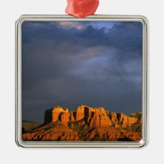 Cathedral Rocks in Sedona Arizona Silver-Colored Square Decoration