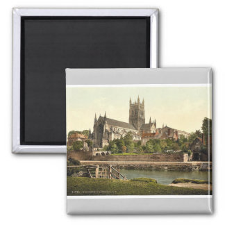 Cathedral, S. W., Worcester, England rare Photochr Square Magnet
