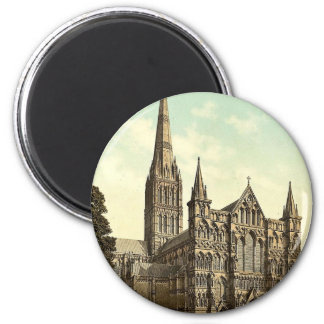 Cathedral, Salisbury, England rare Photochrom 6 Cm Round Magnet