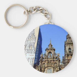 Cathedral, Santiago de Compostela, Spain Basic Round Button Key Ring