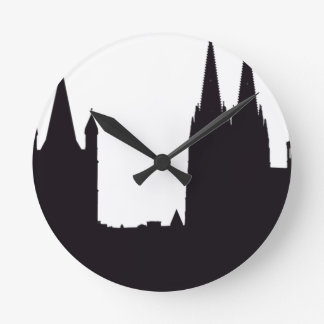 Cathedral Silhouette Round Clock