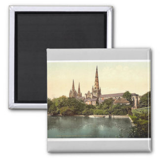 Cathedral, South Side, Lichfield, England rare Pho Square Magnet