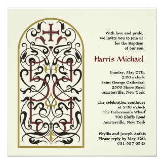 Cathedral Window 13 Cm X 13 Cm Square Invitation Card