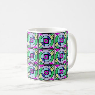 Cathedral Window Mug in Bright Purple and Greens