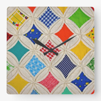 Cathedral Window Quilt design Square Wall Clock