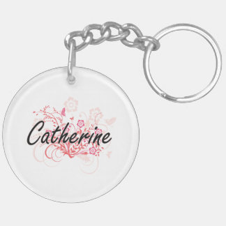 Catherine Artistic Name Design with Flowers Double-Sided Round Acrylic Key Ring