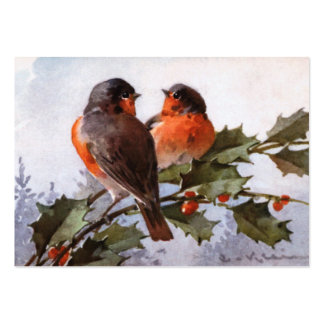 Catherine Klein: Robins on Holly Pack Of Chubby Business Cards