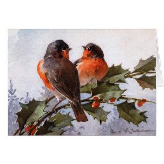 Catherine Klein: Robins on Holly Card