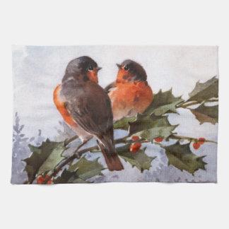 Catherine Klein: Robins on Holly Tea Towel