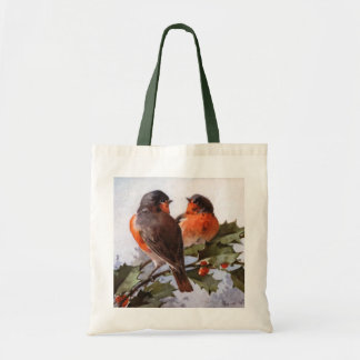 Catherine Klein: Robins on Holly Tote Bag